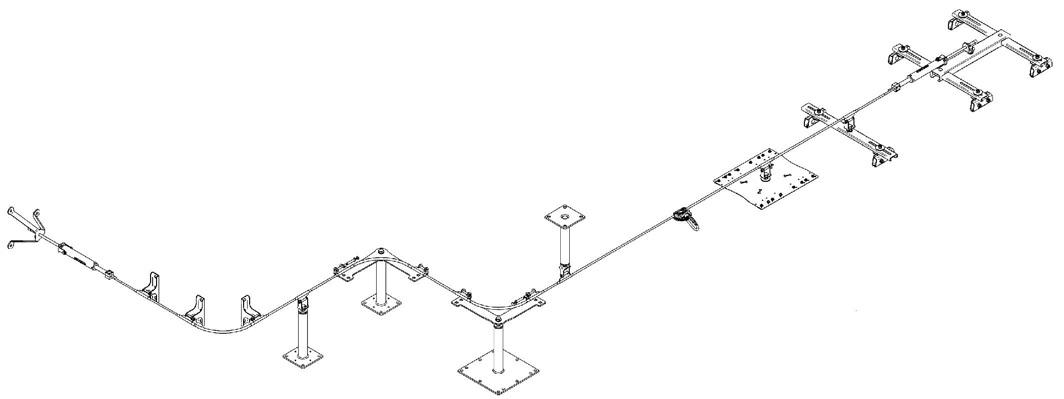 poziomy linowy system asekuracyjny ALL In One- schemat